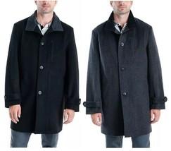 London Fog Men's Clark Wool Blend Overcoat Black or Charcoal 36R, 46L, 4... - $67.99