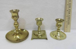 Brass Pedestal Candle Stick Holders Tapers Andrea by Sadek W Lot of 3  - $12.86