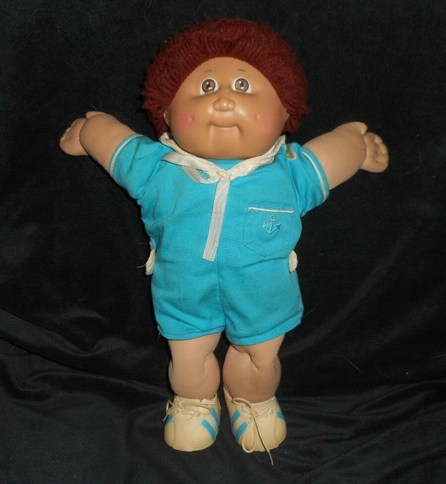 Primary image for VINTAGE 1982 CABBAGE PATCH KIDS BABY DOLL BROWN HAIR BLUE SAILOR STUFFED PLUSH