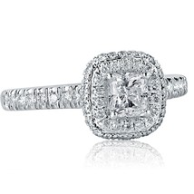 1.05 Ct E-VS2 Radiant Cut Halo Diamond Engagement Ring 18k White Gold - $1,899.81