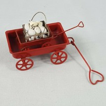 Lot of 2 Vintage Miniature Red Metal Wagons by Enesco 1983 Heart Fresh Eggs - $11.26