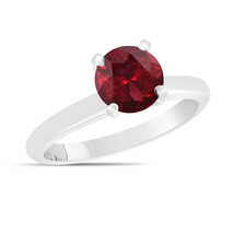 Red Garnet Solitaire Engagement Ring 1.00 Carat 14K White Gold Handmade - $1,050.00