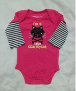 NEW NWT Girls 3-6 Months Bodysuit Creeper Halloween Black Glitter Scared... - $9.99