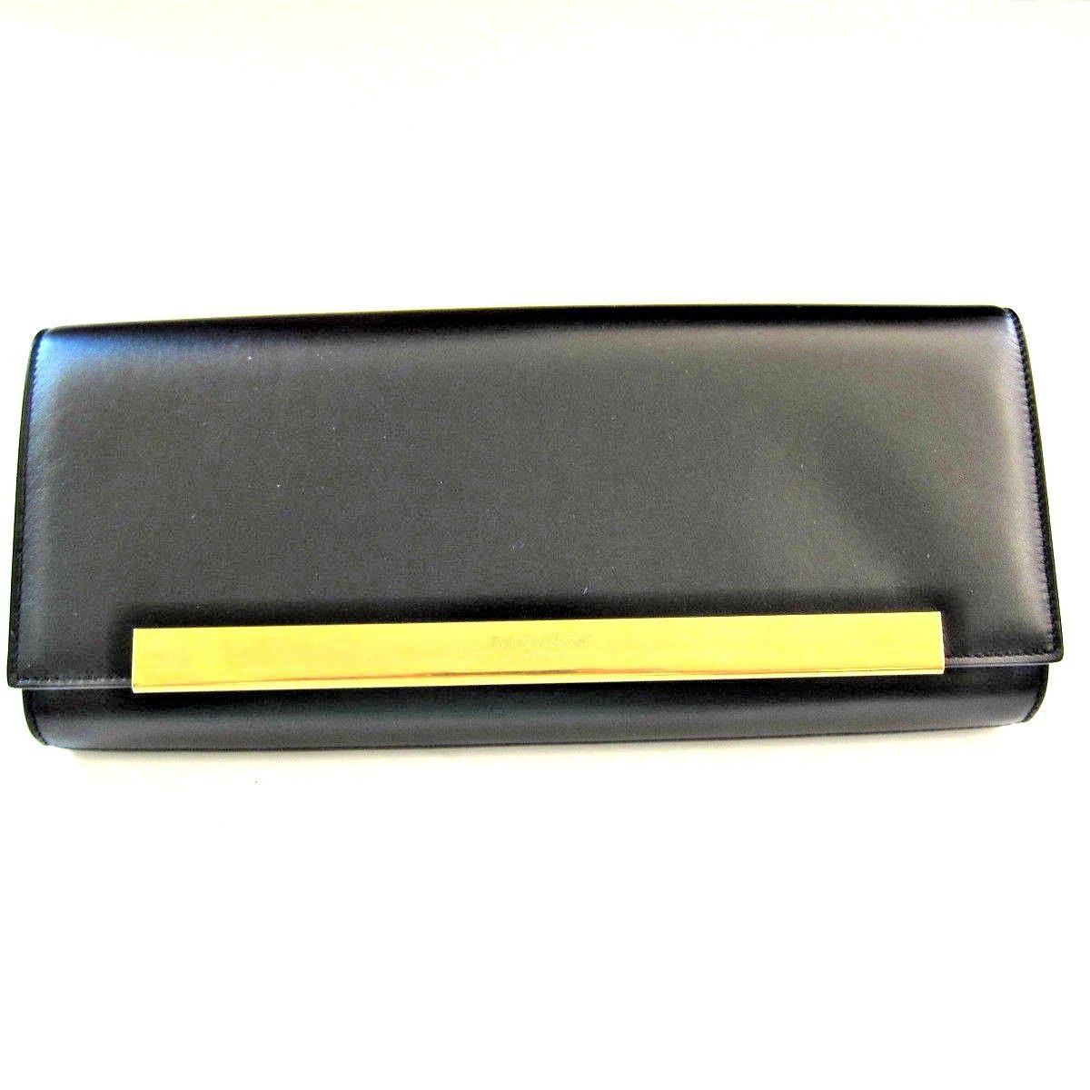 7dd6b1083c79 L-3139449 New Saint Laurent Black With Gold Accent Snap Wallet Clutch Purse  -  569.99