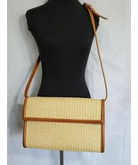 Ralph Lauren Wicker and Leather Purse Adjustable Strap Crossbody Pockets... - $125.73