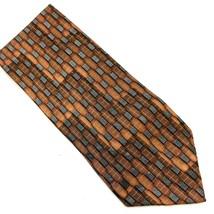 Zylos George Machado  Mens Silk 3.78X58  Tie Made In USA Copper Geometric - $15.20