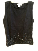 FREE PEOPLE Black S/L Top with Beads Along Bottom Sz Large EUC - $64.35