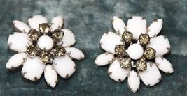 "Vintage High End Estate Milk Glass Rhinestone Earrings Silver Tone Clip 1 3/8"" W - $29.99"