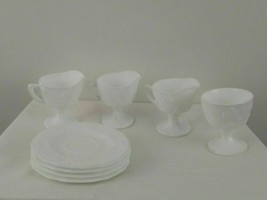 Vintage Set of 8 White Milk Glass Milk Cups and Saucers   - $9.74