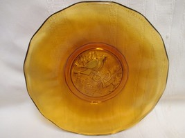 Glass Salad Plate Amber Partridge In a Pear Tree 1981 Scalloped Edge - $5.00