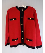 WOMEN'S SWEATER JACOBSON'S Button Down Red and Black w/ Gold Buttons Siz... - $28.70