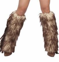 J Valentine Brown Mohair Faux Fur & Suede Fringe Legwarmer Costume Acces... - $25.99