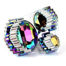 Swarovski Fluorescent Ring AB Crystal Art Deco Cocktail Statement Ring 55,M,7 - $300.00