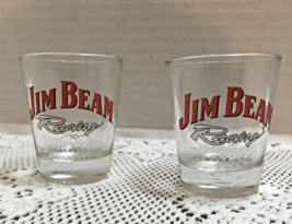 Set Of Two Jim Beam Racing Shot Glasses Retro Shot Glasses - $10.50