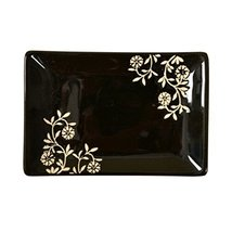 Rectangle Ceramic Dinner Plate Creative Japanese Sushi Plate With Flower, Black - $23.29