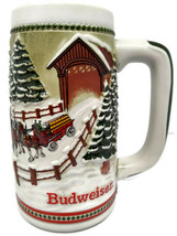 Budweiser Holiday Series Stoneware Stein CS-62 Covered Bridge 1984 - $15.79