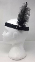 Black Sequin Gatsby Costume Flapper Stretchy Headband Headpiece Feather One Size - $3.45