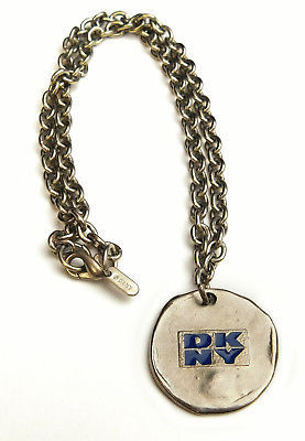 Vintage 1990's DKNY Donna Karan Logo Signed Silver Metal Chain Necklace