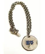 Vintage 1990's DKNY Donna Karan Logo Signed Silver Metal Chain Necklace - $35.59