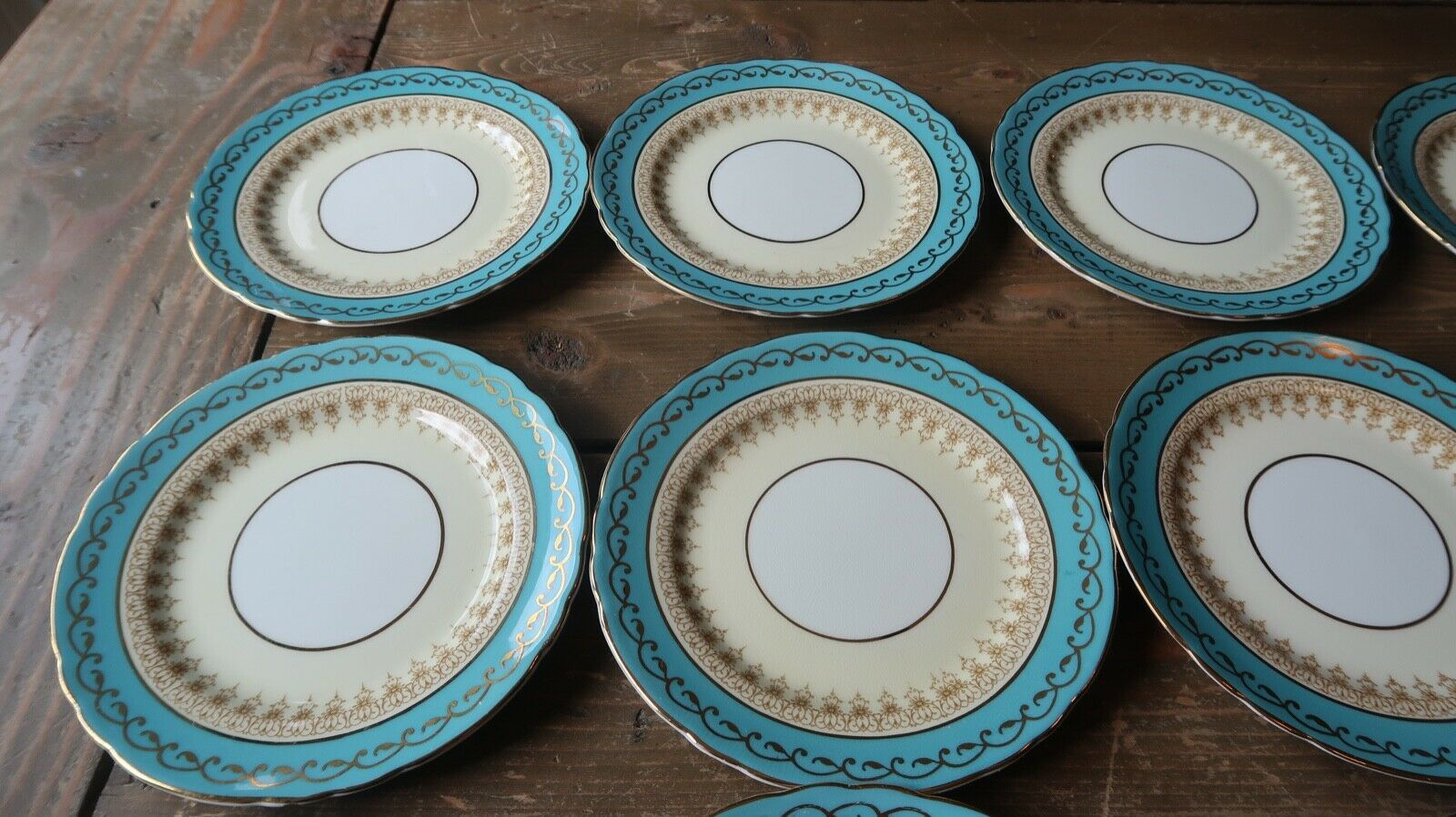 """Set of 12 Aynsley Aqua Blue 7611 Bread and Butter Plate 6.25"""""""