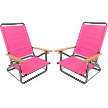2 Folding Beach Chair Camping Chair Arm Lightweight Portable 3-Position Pink - $69.39