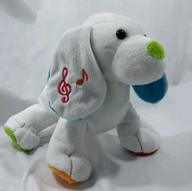 """White Puppy Dog with Music Notes multiple color paws 8"""" Ganz Webkinz no code - $17.33"""
