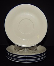 "4 Provence Bouquet Blue by Sango SAUCERS 6.25"" Fine China Stoneware White - $29.69"