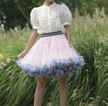 Women Blush Pink Mini Layered Tulle Skirt Outfit Plus Size Tulle Holiday Skirt image 2