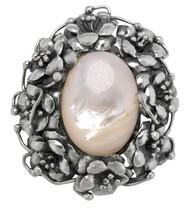 Ladies Vintage Estate 925 Sterling Silver Floral Mother of Pearl Brooch ... - $164.95