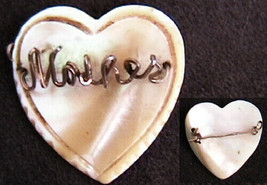 Mother of pearl heart shape pin wire spells MOTHER vintage pin jewelry - $4.46