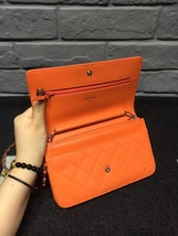 100% AUTH CHANEL Boy WOC Quilted Patent Leather Orange Wallet on Chain Flap Bag  image 7