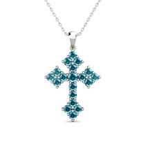 "2.02 Carat Blue Diamond Antique Cross Unisex Pendant 18"" Chain 14K White... - $1,017.70"