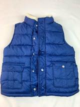 Gymboree Boys Size 5/6 Blue Puffer Vest Button UP Sherpa Collar - $16.82