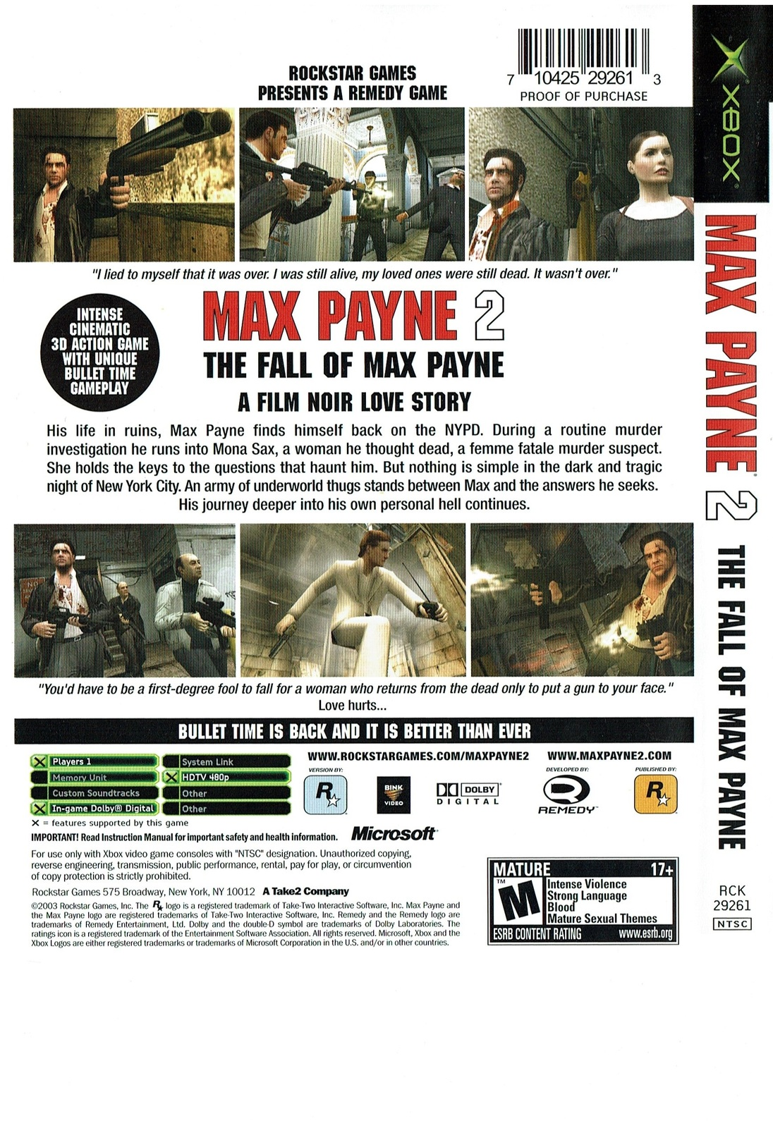 Max Payne 2: The Fall of Max Payne, Xbox, by Rockstar Games