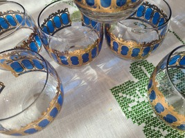 Vintage MCM 6pc CULVER Lowball Glasses in Cobalt and Gold image 5