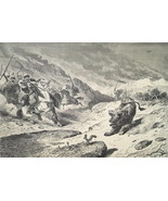 HUNTING Lions Arabs on Horses  - 1878 Fine Quality Print - $35.96