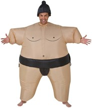 Funny Instant Costume SUMO WRESTLER INFLATABLE BODY w/ Wig & Airblown Fa... - $47.47