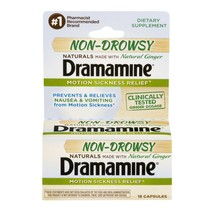 Dramamine Motion Sickness Relief Non-Drowsy Naturals With Natural Ginger... - $16.94