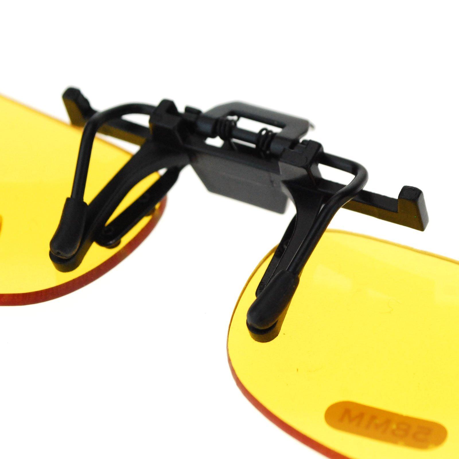 Unisex Retro 36mm x 62mm Clip On Night Driving Yellow Lens Sunglasses Black