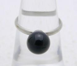 VTG Silver Tone Black Glass Ball Ring Size 5.75 - $19.80
