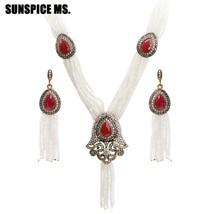 Sunspicems Turkish Bead Necklace Earring Sets for Women European Wedding... - $23.84