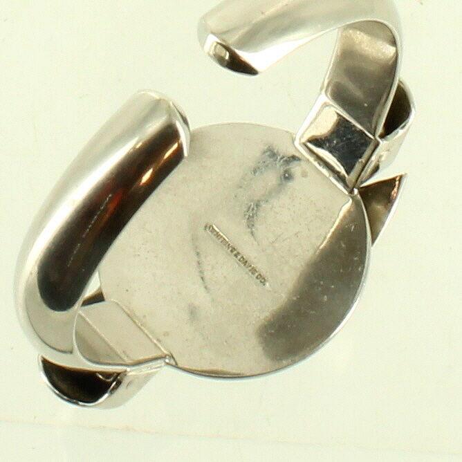 """RARE VINTAGE DECO SILVER WHITING & DAVIS LEAF DESIGN SM CLAMPER BRACELET 5 3/4"""""""