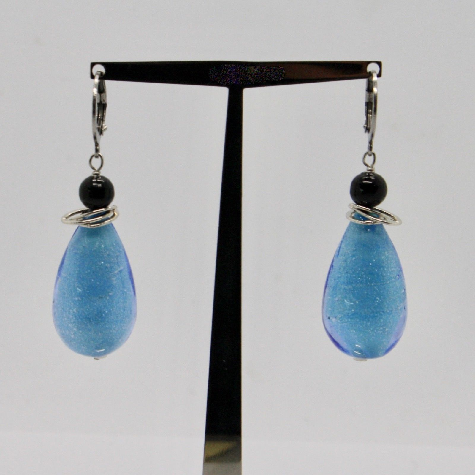 EARRINGS ANTICA MURRINA VENEZIA WITH MURANO GLASS DROP BLUE OR540A07