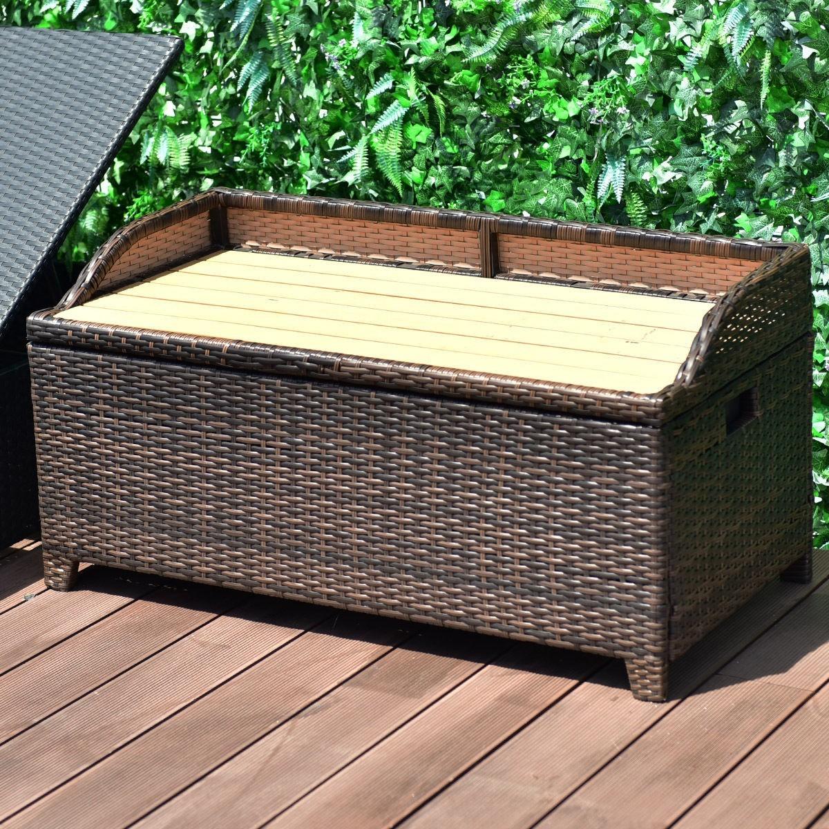 50 Gallon Patio Garden Rattan Wicker Storage Bench