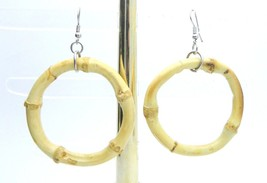 Faux Bamboo Round Hoop Earrings Fashion 1980s Vintage - $13.86