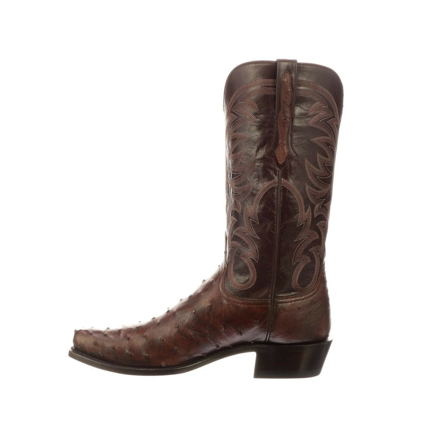 Handmade Men's Leather Brown Ostrich Print Cowboy Mexican Western Hunter Boots