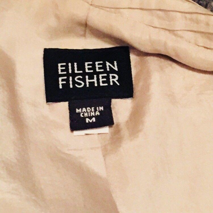 Eileen Fisher 100% Silk Crinkle Open Front Lined Jacket Medium