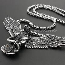 """Linsion 316L Stainless Steel Huge Eagle Pendant + Necklace 24"""" for  Men ... - $39.99"""