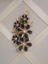 Vintage Black Enamel Flower Petal Gold Floral Aurora Borealis Fashion Brooch  - $45.00