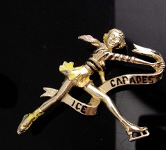OLD time ICE Capades Brooch / vintage skater pin / Novelty Figure skater... - $75.00